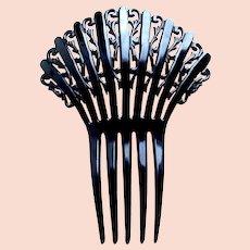 Large Art Deco hair comb black celluloid Spanish style hair accessory