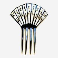 Art Deco hair comb celluloid overlay hair ornament