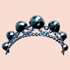 Faceted French jet tiara Victorian mourning hair accessory or headpiece