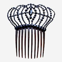 Faceted French jet hair comb Victorian mourning Spanish style hair accessory