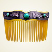 Art Nouveau hair comb with faux jade cabochons