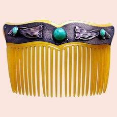 Art Nouveau hair comb with faux jade cabochons