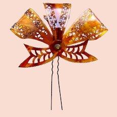 Victorian hair comb unusual aigrette bow design hair accessory headpiece