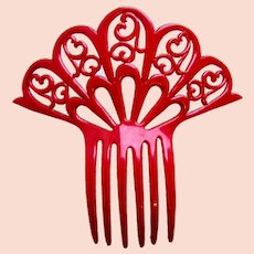 Hot red celluloid hair comb Art Deco sunray style hair ornament