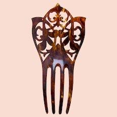Victorian hair comb pressed faux tortoiseshell hair ornament