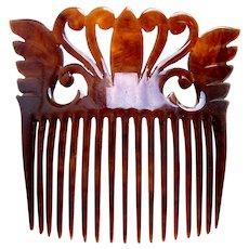 Late Victorian hair comb celluloid faux tortoiseshell hair ornament
