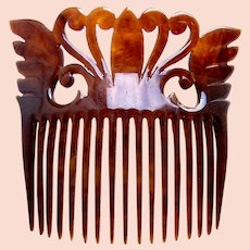 Late Victorian hair comb celluloid faux tortoiseshell hair ornament