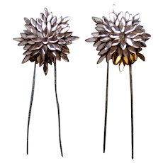 Vauxhall glass hair pins matched pair star design hair accessories