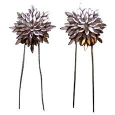 Vauxhall glass hair pins matched pair star design hair accessories