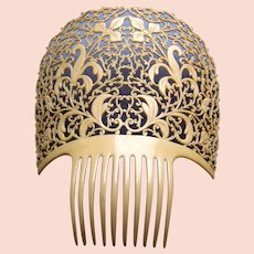 Large French Ivory Spanish mantilla style hair comb headpiece