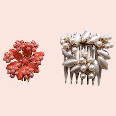 Two mid century hair combs fancy rhinestone trim hair accessories