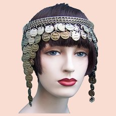 Oriental Egyptian revival style headdress with coins Art Deco headpiece
