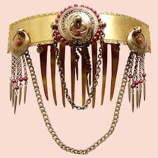 Victorian Moorish hair comb with coral dangles hair accessory
