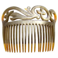 Art Deco hair comb celluloid pearlized effect hair accessory