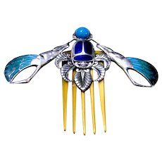 Piel Frères Egyptian Revival hair comb enamel horn and silver hair accessory
