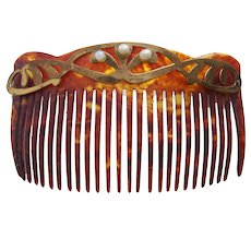 Art Nouveau hair comb with goldtone metal hair accessory