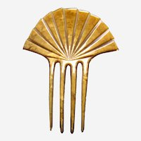 Art Deco hair comb green mottled sunray style hair accessory