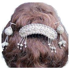 Early Victorian Silver gilt Moorish hair comb and hair pin set