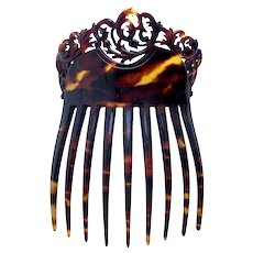 Victorian pierced faux tortoiseshell hair comb or hair accessory