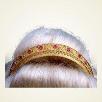 Regency era fire gilded tiara faux ruby stones headdress