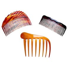 Three vintage hair combs classic styled hair accessories