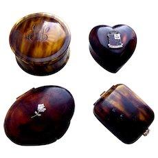 Four faux tortoiseshell vanity items powder compact pill box