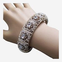 Hollywood Regency style expanding bracelet metal rhinestones 1980s