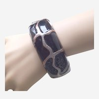 Vintage clamper bracelet ethnic style metal enamel 1970s - 80s