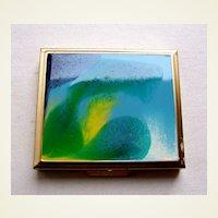 Mid century modernist powder compact enamel poured paint effect (AAE)