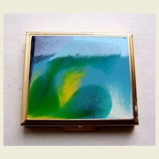 Mid century modernist powder compact enamel poured paint effect (AAE)