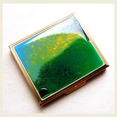 Mid century modernist powder compact enamel poured paint effect (AAF)