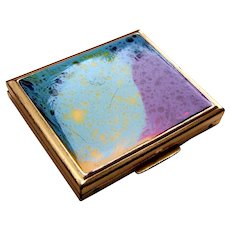 Mid century powder compact enamel poured paint effect (AAG)