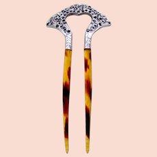 Edwardian hair comb aluminium rhinestone trim hair ornament
