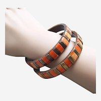 2 Vintage bangle bracelets ethnic tribal style dyed bone inlay 1970s - 80s