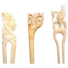 Three Indonesian hair pins carved bone hair accessories
