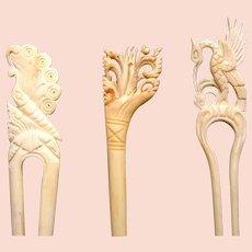 Three Indonesian hair pins carved bone hair accessories