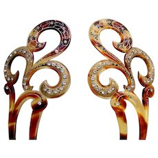 Matched pair Art Nouveau hair combs applied gilding hair accessories