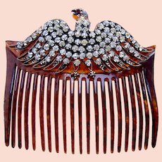 Victorian hair comb with rhinestone eagle motif hair ornament