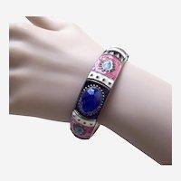 Vintage bangle bracelet ethnic style with enamel embellishment 1970s