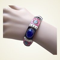 Vintage bangle bracelet ethnic style with enamel embellishment 1970s