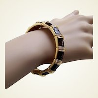 Joan Rivers signed expanding bracelet black enamel rhinestone