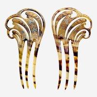 Matched pair Art Nouveau hair combs applied gilding hair accessories