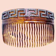 Victorian hair comb faux tortoiseshell Greek key hair accessory