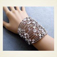 Vintage clamper bracelet silver tone metal rhinestone 1980s