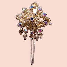Rhinestone Hollywood Regency hair comb mid century hair ornament