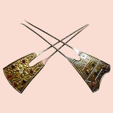 2 Vintage Art Deco hair pins Egyptian Revival design hair accessories