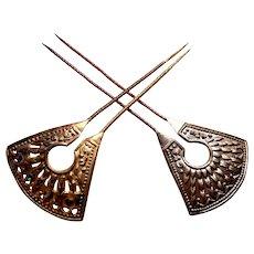 2 Vintage Art Deco hair pins Egyptian Revival design hair ornaments