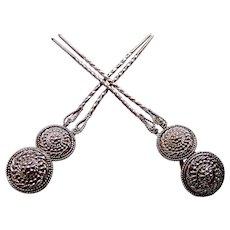 Matched pair hair pins silver tone metal circles hair accessories