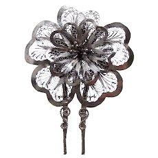 Vintage filigree hair pin silver tone metal flower design hair accessory