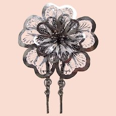 Vintage filigree hair pin silver tone flower design hair accessory